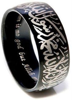Tungsten Islamic Jewellery Ring with Shahada in Arabic & English