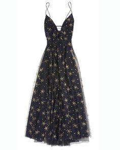 Star Illusion Tulle Dress, Black/Gold