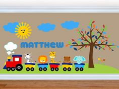 Wall Decals for Kids Nursery - Train Wall Decal - Choo Choo - Premium Quality Repositionable Kids Wall Decals, Nursery Wall Decals, Wall Stickers, Childrens Wall Murals, Jungle Animals, Baby Animals, Baby Room, Kids Room, Classroom