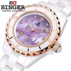 (52.28$)  Watch more here - http://ai5mu.worlditems.win/all/product.php?id=32547027367 - Switzerland Binger ceramic wristwatches Women fashion quartz watch Round rhinestone watches 100M Water Resistance BG-0412-4