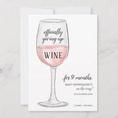 Giving Up Wine Funny Pregnancy Announcement Card Funny Pregnancy, Pregnancy Photos, Invitation Cards, Invitations, Cute Avocado, Pregnancy Announcement Cards, Simple Photo, Bridal Shower Party, Photo Heart