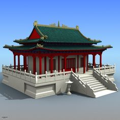 Chinese Architecture 03 - 3d model - CGStudio China Architecture, Japanese Architecture, Dojo, Traditional Chinese House, Roof Styles, House Styles, Japanese Buildings, Chinese Interior, Minecraft Construction