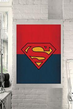 "DC Universe Comic Store Superheroes Minimalist ""Superman"" Art Poster - Retro Style Print Home Decor Wall Art Marvel Comics DIGITAL DOWNLOAD"