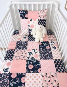 Items similar to Baby Girl Blanket, Crib Bedding, Floral Nursery Decor - Blush Pink, Navy Blue and Rose Gold Flowers on Etsy Pink Crib Bedding, Woodland Crib Bedding, Nursery Bedding, Nursery Decor, Nursery Ideas, Nursery Inspiration, Floral Nursery, Nursery Neutral, Neutral Nurseries