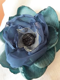 Flower Pin, Gucci Inspired Brooch, Shades of Blue with Vintage Black Button