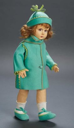 Apples - An Auction of Antique Dolls: 80 Italian Felt Character Girl by Lenci in Green Felt Coat and Cloche