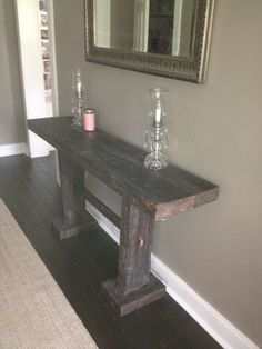 Console Table from reclaimed pine timbers by TipsyFish on Etsy, $300.00