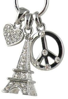 Peace, Love, Paris necklace....a great gift for a pre-tween (8,9,10) year old girl.