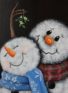 Mistletoe Snowman Painting Original Hand painted by True2YourART