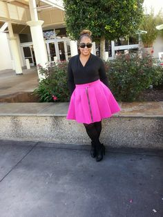 DIY HOT PINK PLEATED SKIRT