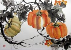 Japanese Ink Painting, Sumi-e, Suibokuga , Asian art, Rice Paper painting, Fall harvest, Orange, Yellow, Thanksgiving   Fall Pumpkins painted with Sumi