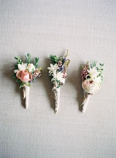Love the variety of flowers on this boutonniere! Floral Wedding, Wedding Bouquets, Rustic Wedding, Our Wedding, Dream Wedding, Vintage Wedding Flowers, White Bouquets, Bridesmaid Bouquets, Flower Bouquets