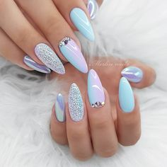 Easy Spring Nails Spring Nail Art Designs To Try In Simple spring nails colors for acrylic nails, gel nails, shellac spring nails, as well as short spring nails. These easy Spring nail art ideas with flowers, glitter and pastel colors are a must try. Spring Nail Colors, Spring Nail Art, Nail Designs Spring, Pastel Colors, Acrylic Spring Nails, Cute Spring Nails, Blue Nail Designs, Summer Nails, Shellac Designs