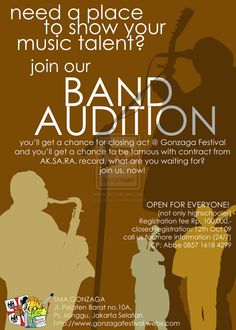 band audition flyer templates - Google Search