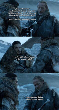Game of thrones season 7 funny humour meme. Jon Snow, Jorah Mormont, Kit Harington