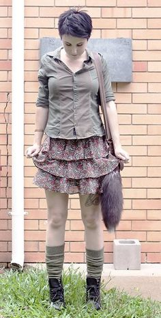 alexisateacup:  Simple mori girl look on my blog!  Alex has given her own, dressed-down and personal take on the Mori look here, using olive Long Cuffable Scrunchable Socks to their best advantage.  Many people here in the PNW just by chance rock a similar aesthetic because of how chilly it is most of the year. We love our natural fibres, scarves, and piling on coat over cardigan over blouse. Scrunchy socks are perfect for this kind of look, in any interpretation! ♥Zaffie