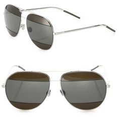 Dior Split2 59MM Mirrored Aviator Sunglasses ($615) ❤ liked on Polyvore featuring accessories, eyewear, sunglasses, apparel & accessories, aviator glasses, mirror lens sunglasses, aviator sunglasses, mirror lens aviators and mirrored aviators