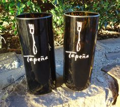 Recycled Wine Bottle Glasses made from Tapena wine bottles by ConversationGlass, $22.00