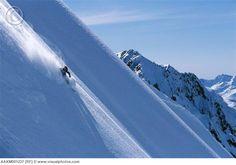 Telemark skiing powder