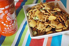 A twist on Chex Mix™ that uses sriracha and soy sauce as flavoring. Appetizer Recipes, Snack Recipes, Appetizers, Wasabi Peas, Good Food, Yummy Food, Holiday Snacks, Chex Mix, At Least