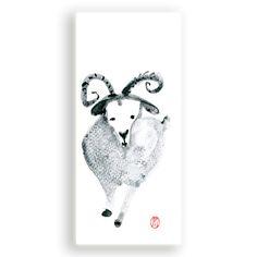Year of the Sheep Ram Goat 2015 Chinese New Year Original Zen Sumi ink Painting, zen illustration,Chinese Zodiac 2015