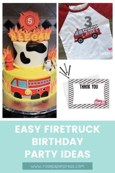 The best ideas for hosting a Firetruck Birthday Party for kids. Firefighter birthday party ideas including invitations, cookies, cake, outfits, and decorations. Kids Birthday Themes, Birthday Invitations Kids, Happy Birthday Banners, 2nd Birthday Parties, Boy Birthday, Firefighter Birthday, Firetruck, Special Birthday, Holiday Cards