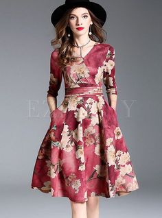 Shop for high quality Floral Print V-neck Gathered Waist Skater Dress online at cheap prices and discover fashion at Ezpopsy.com