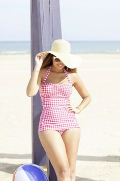 I want this one in hot pink gingham. I want this one in hot pink gingham. Retro Swimwear, Vintage Swimsuits, Summer Outfits, Casual Outfits, Cute Outfits, Pink Gingham, All I Ever Wanted, Beachwear, Ideias Fashion