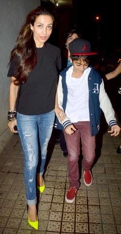 Malaika Arora Khan with son Arhaan at screening of 'Finding Fanny' #Bollywood