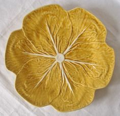 Bordallo Pinheiro Portuguese Majolica Gold Cabbage Leaf 12in Dinner Plate | eBay