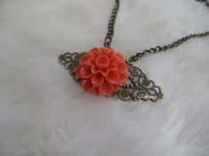 Orange Resin Flower Cabochon Necklace