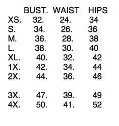 Vintage Inspired Clothing - Size Chart | Bernie Dexter