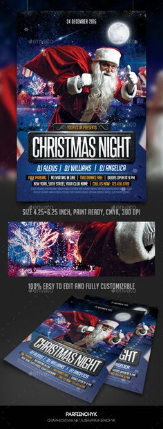 Christmas Night Party Flyer Template - Clubs & Parties Events Christmas Night Party Flyer Template Description: PSD File 4.25×6.25 inches (1275×1875 pixels) Print Ready (CMYK, 300 DPI) Easy to edit and fully customizable All text are editable Free fonts used Photo of model are not included Fonts: Steelfish: http://www.dafont.com/steelfish.font Big Noodle Titling: http://www.dafont.com/bignoodle-titling.font Thank you!
