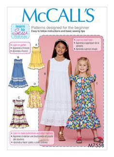 Sewing For Kids Clothes McCall's 7558 Children's/Girls' Sleeveless and Ruffle Sleeve Empire-Waist Dresses sewing pattern - Childrens Sewing Patterns, Mccalls Sewing Patterns, Clothing Patterns, Sewing Projects For Kids, Sewing For Kids, Baby Sewing, Sewing Ideas, Corsage, Nightgown Pattern