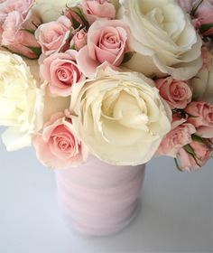 Sublimely pretty cream and pale dusty pink hued blooms. #flowers #arrangement #bouquet #wedding #pink #roses #cream #ivory #spring #beautiful
