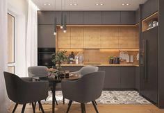 Stylish interior designs for modern kitchen - kitchen loft strict Küchen Design, Home Design, Decor Interior Design, Furniture Design, Design Ideas, Interior Designing, Flat Design, Furniture Decor, Kitchen Room Design