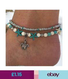 Anklets Boho Starfish Turquoise Beads Sea Turtle Anklet Beach Sandal Ankle Bracelet #ebay #Fashion