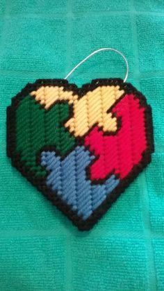 Autism Plastic Canvas Heart Shaped Puzzle Ornament