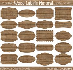 Wood Frames Clipart WOOD LABELS NATURAL wooden by DigitalStories, €3.00