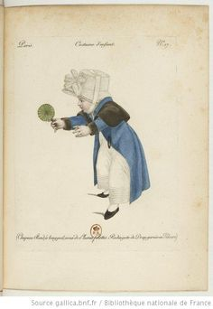 Costume d'enfant. Chapeau rond à long poil orné de plumes folettes. Redingote de drap garnie en velours.