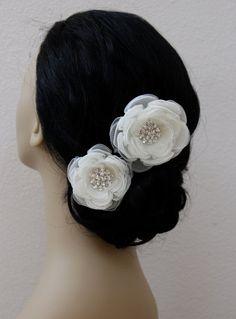 2 set of ivory bridal hair flower/ivory wedding by StacieRowie, $44.99