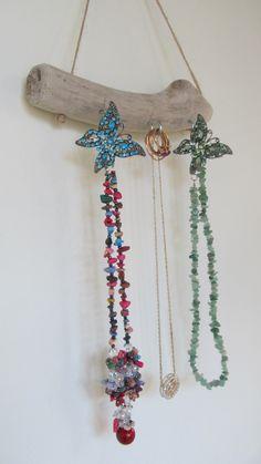 Beach Theme Wall Hanging Jewelry Organizer 155 Driftwood Jewelry