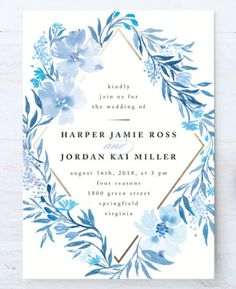 A floral inspired poetic blue wedding invitation by Minted artist Qing Ji. Customizable on Minted.com