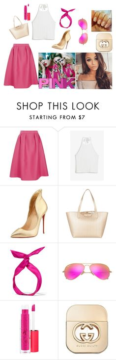 """Untitled #3"" by jasminalugavic ❤ liked on Polyvore featuring Luxe, Monki, Christian Louboutin, Patrizia Pepe, yunotme, Ray-Ban, MAC Cosmetics and Gucci"