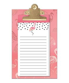 Love this Pink Flamingo Clipboard & Notepad Set on #zulily! #zulilyfinds