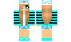 minecraft skin cool-blue-girl