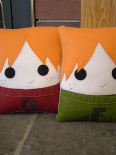 Fred and George Weasley, Decorative Pillow, Harry Potter inspired pillow, MUST HAVE My friend would love this