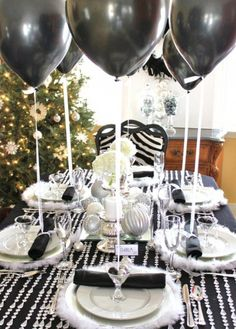 black and white table decorations adult fashion show.  | 10 Chic Ideas for Winter Party Décor | Brit + Co.