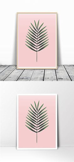 Tropical Leaf Print, Palm Print, Plant Print, Tropical Art, Tropical Decor, Palm Leaf Print, Botanical Print, Minimalist Green leaf Print, Contemporary Art, Leaf Art Print, Leaf Wall Art, Pink, 8x10