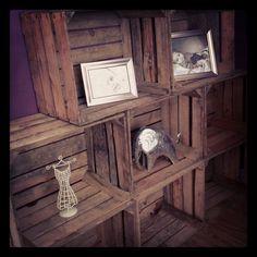 Vintage apple Crate storage wall